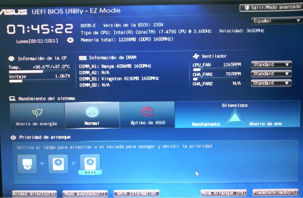 Interfaz visual de laInterfaz de Firmware Extensible Unificada UEFI.